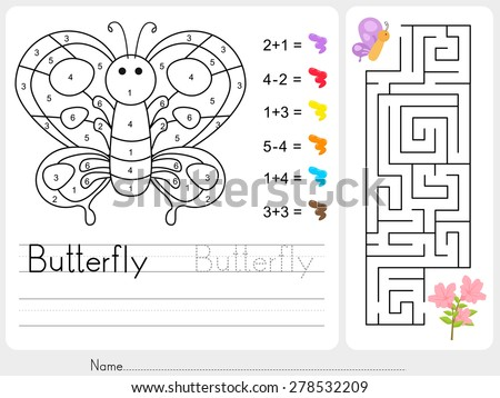 Maze game, Color by numbers - Worksheet for education - stock vector