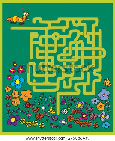 maze game: find a way to help the caterpillar on a meadow - stock vector