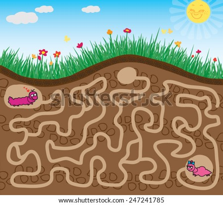 maze game find the road worm - stock vector