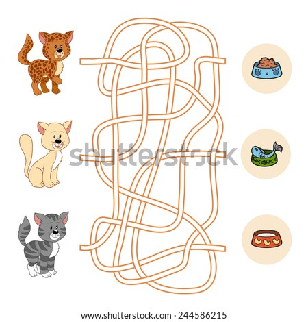 Maze game for children: cat and food - stock vector