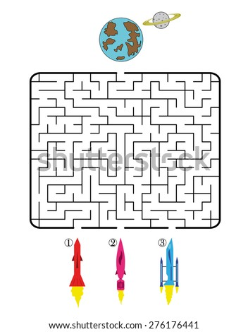 Maze game for children on space theme. Find the way for spacecraft to planet. Only one is correct. Vector illustration.