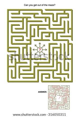 Maze game for kids or adults: Can you get out of the maze? Answers included.   - stock vector