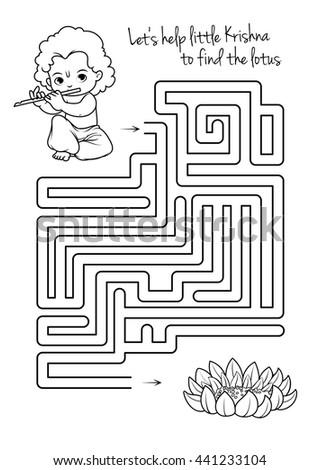 Maze Game Kids Krishna Lotus Lets Stock Vector 441233104 - Shutterstock