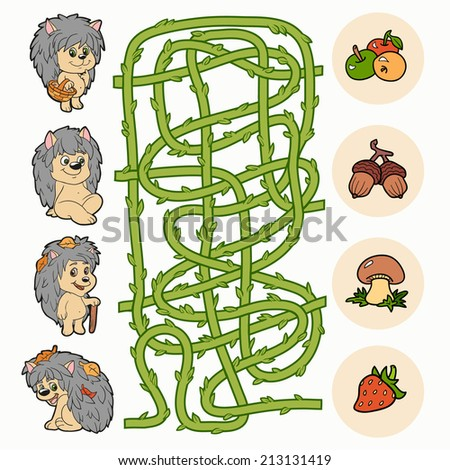 Maze game: Help hedgehogs to find food - stock vector