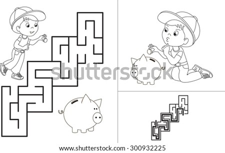 Maze game. One cartoon baby boy play his piggy bank. Maze game for kids. Find correct way. Task and answer.  - stock vector