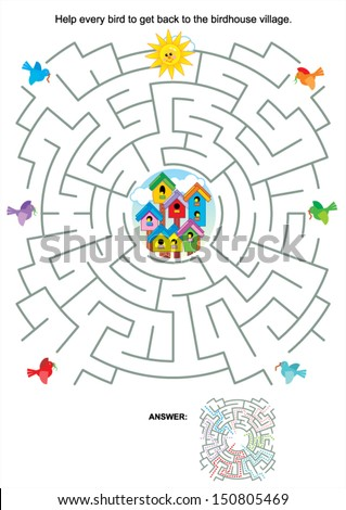 Maze game or activity page for kids: Help every bird to get back to the birdhouse village. Answer included. For EPS format see image 150805469 - stock vector