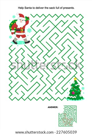 Maze game or activity page for kids: Help Santa to deliver the sack full of presents for children. Answer included.  - stock vector