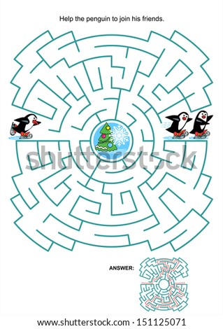 Maze game or activity page for kids: Help the little skating penguin to join his friends. Answer included. For high res JPEG or TIFF see image 151125068 - stock vector