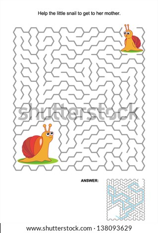 Maze game or activity page for kids: Help the little snail to get to her mother. Answer included. For high res JPEG or TIFF see image 138093626 - stock vector