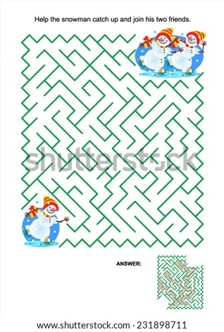 Maze game or activity page for kids: Help the snowman catch up and join his two friends. Answer included.  - stock vector