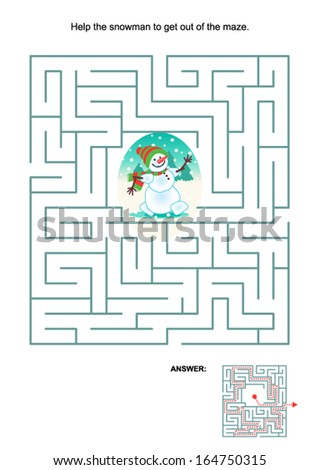 Maze game or activity page for kids: Help the snowman to get out of the maze. Answer included.  - stock vector