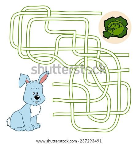 Maze game (rabbit) - stock vector