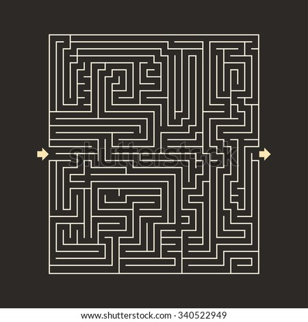 maze HARD design puzzle with specify input and output dark - stock vector