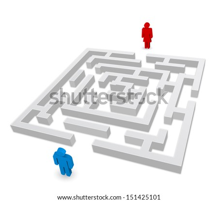 maze - labyrinth person man and woman icon - stock vector