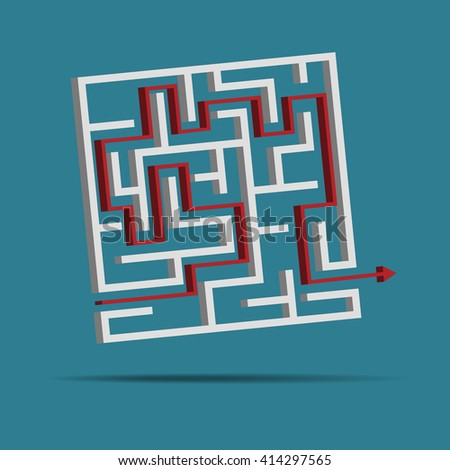 maze, labyrinth solution concept. vector illustration - stock vector