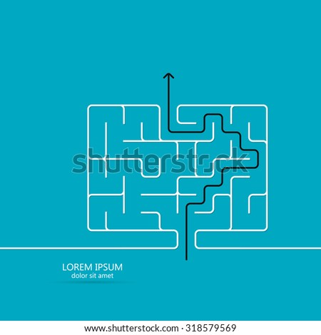 Maze / labyrinth template. Black arrow going through the maze, path across a labyrinth. Isolated on blue background. Vector illustration. - stock vector