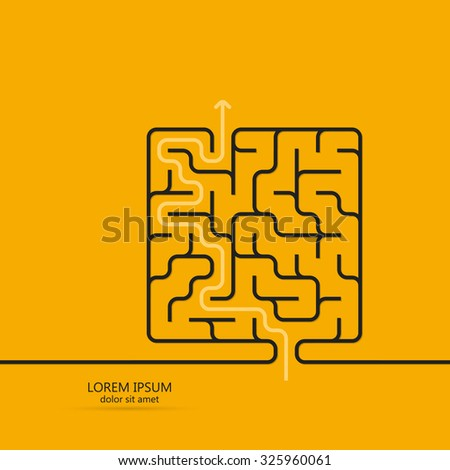 Maze / labyrinth template. White arrow going through the maze, path across a labyrinth. Isolated on yellow background. Vector illustration. - stock vector