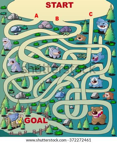 Maze of forest bear - stock vector