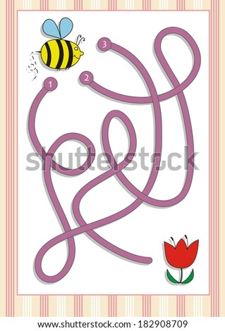 Maze or Labyrinth Game for Preschool Children  (6) - stock vector