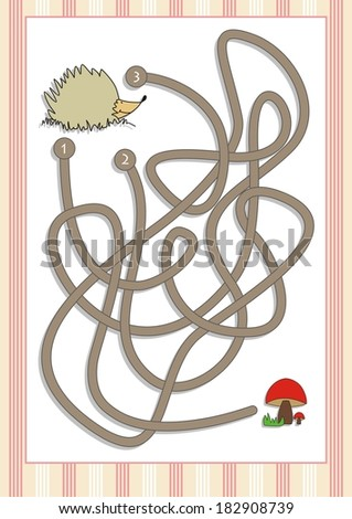Maze or Labyrinth Game for Preschool Children  (5) - stock vector