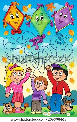 Maze 9 outdoor children with kites - eps10 vector illustration.