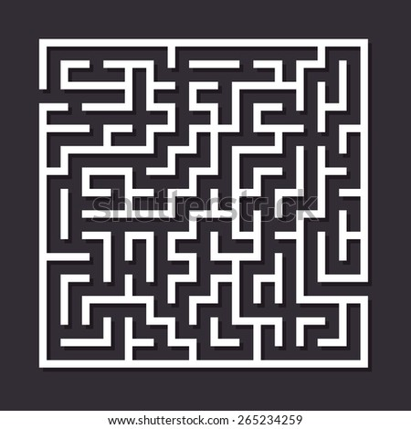 Maze paper labyrinth. Vector illustration of simple labyrinth with some wrong ways and one exit - stock vector