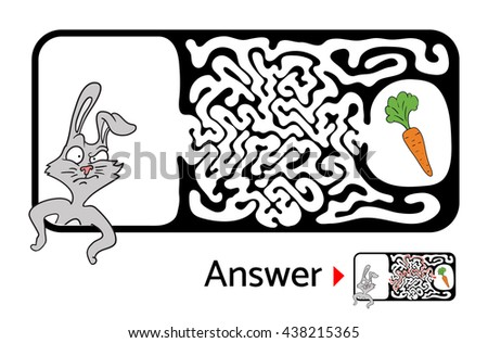 Maze puzzle for kids with rabbit and carrot. Labyrinth illustration, solution included. - stock vector