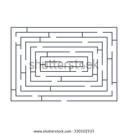 maze puzzle labyrinth rectangular blue on white - stock vector