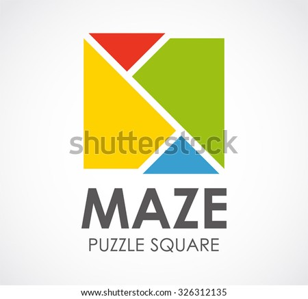 Maze puzzle of square abstract vector and logo design or template colorful logic business icon of corporate and company identity symbol concept - stock vector