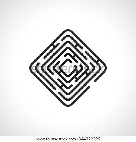 maze rectangle icon - stock vector