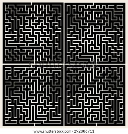 Maze set. - stock vector