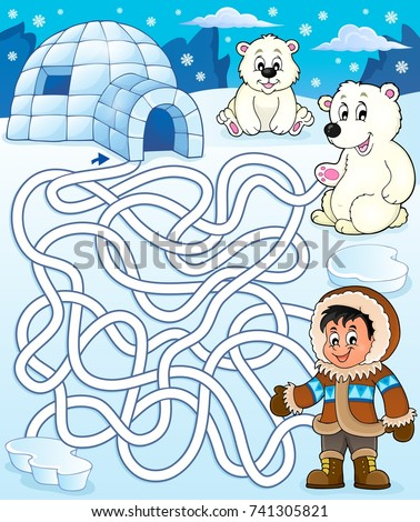 Maze 4 with arctic theme 2 - eps10 vector illustration.
