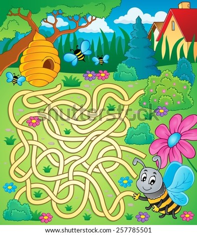 Maze 4 with bee theme - eps10 vector illustration. - stock vector