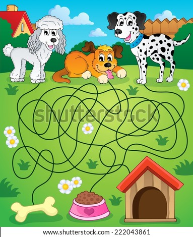 Maze 14 with dogs - eps10 vector illustration. - stock vector