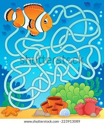 Maze 18 with fish theme - eps10 vector illustration. - stock vector