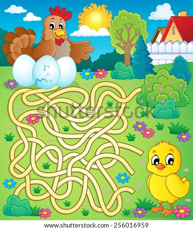 Maze 4 with hen and chicken - eps10 vector illustration. - stock vector