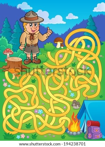 Maze 1 with scout boy - eps10 vector illustration. - stock vector