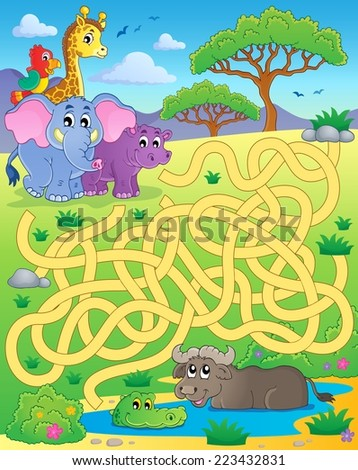 Maze 16 with tropical animals - eps10 vector illustration. - stock vector