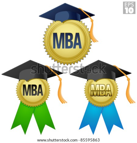 MBA graduation seal, medal with gold seal, ribbon, and graduation cap - stock vector