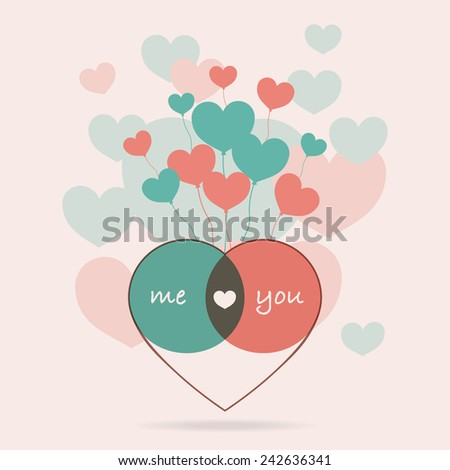 Me and You on heart balloon background for Valentines day and Anniversary. Vector illustration EPS10. - stock vector