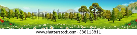 Meadow and forest, nature landscape, vector background - stock vector