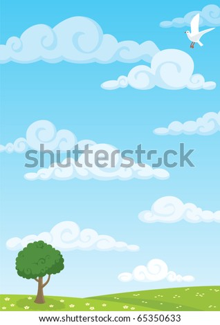 Meadow Background: Cartoon meadow background. A4 proportions. No transparency used. Basic (linear) gradients used for the sky. - stock vector