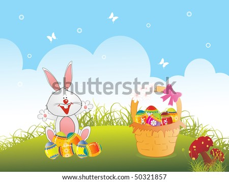 meadow background with decorated egg in basket and rabbit