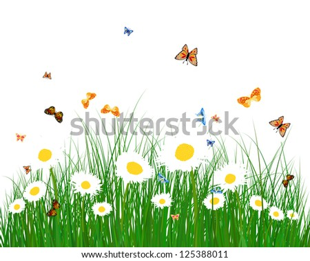 Meadow color background with butterflies. All objects are separated. Vector illustration.