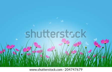 Meadow color background with butterflies and sun. All objects are separated. Vector illustration with transparency. Eps 10.