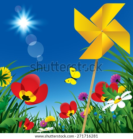 Meadow flowers and windmill propeller under the summer blue sky. Season natural background. Vector illustration - stock vector