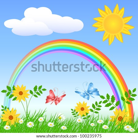 Meadow flowers, rainbow, sun and blue sky - stock vector