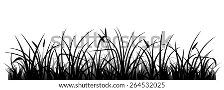 Meadow grass silhouette, vector illustration - stock vector
