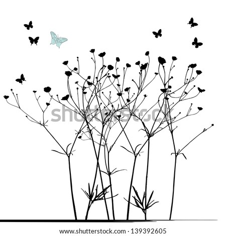 Meadow in summertime, plant vector - stock vector