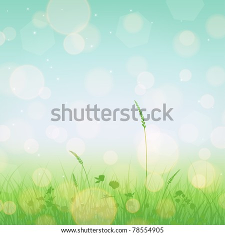 Meadow landscape with grass and flowers silhouettes and blue sky - stock vector